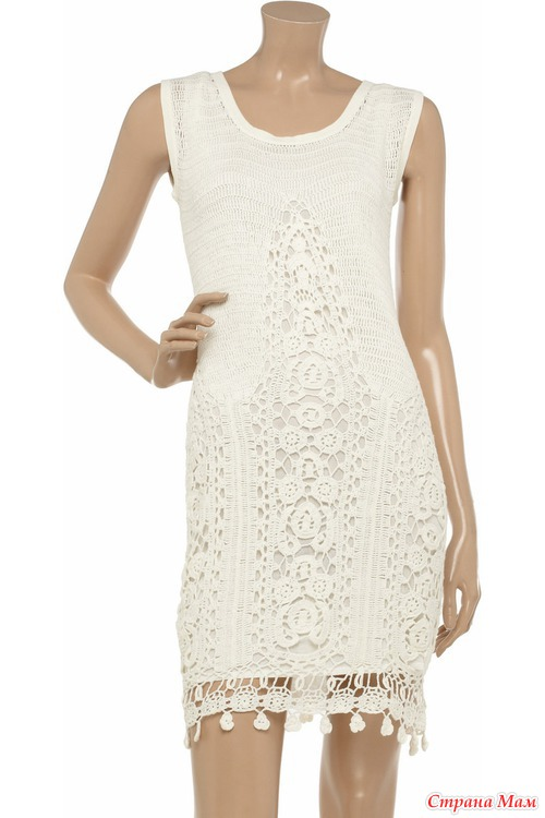 Белые платья крючком.