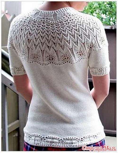 """Пуловер """"ХРИЗАНТЕМА"""" с короткими рукавами, летний, азиатский, с круглой кокеткой."""