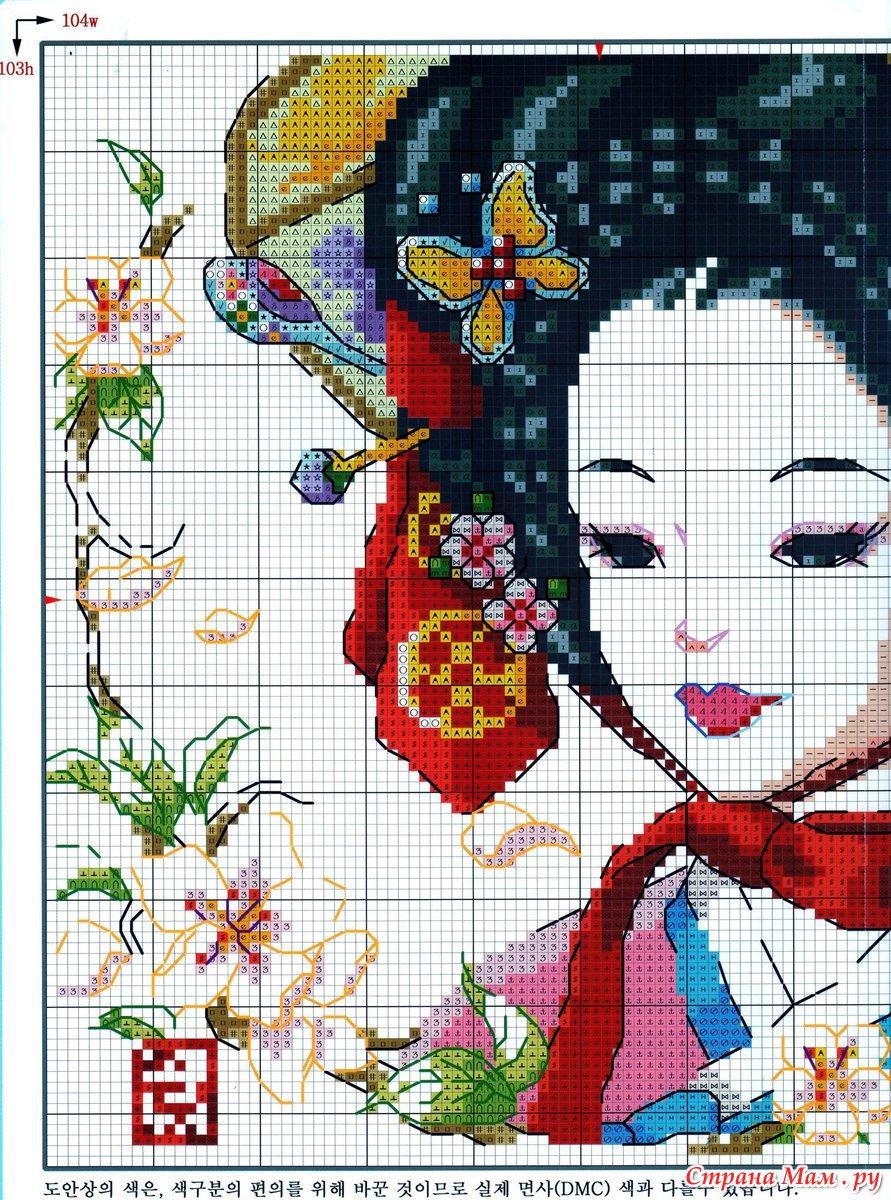 Схемы для вышивки гейши