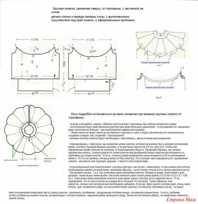Вязание круглой кокетки спицами сверху детские6