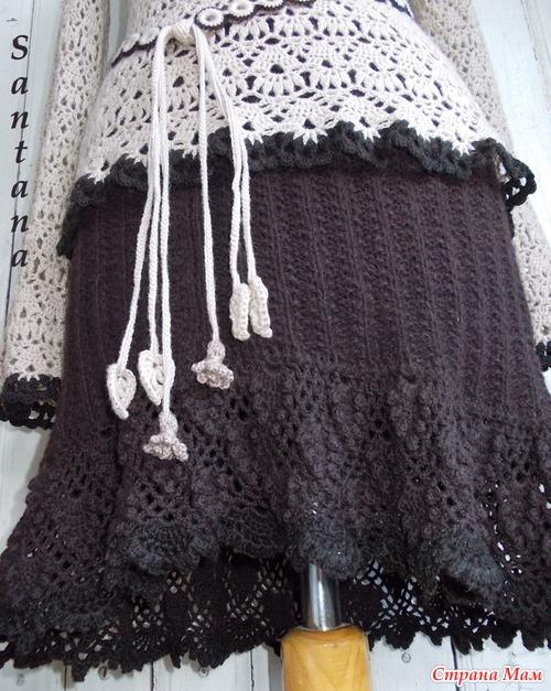 Кофточка «Шоколадные цветы» и юбка из полушерсти