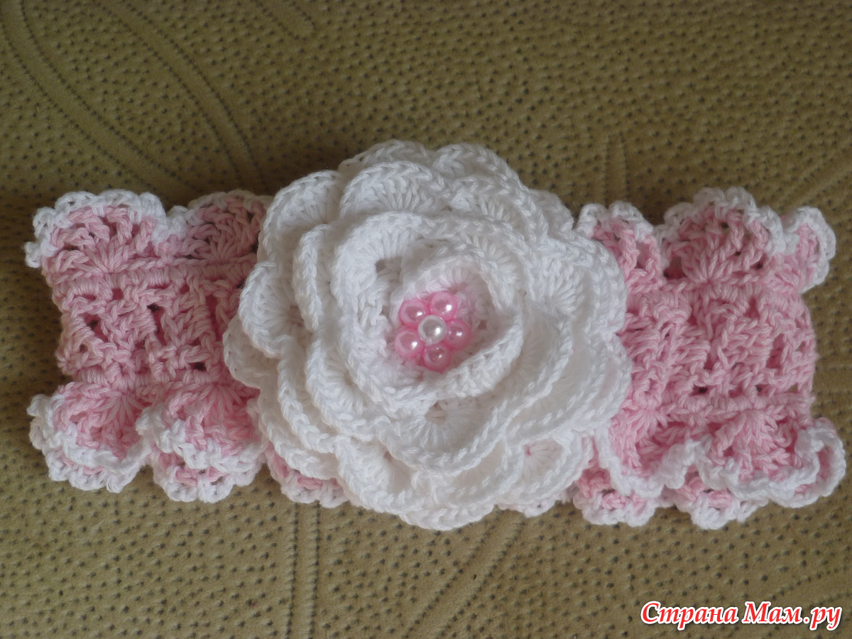 Вязание крючком цветов для повязок 894