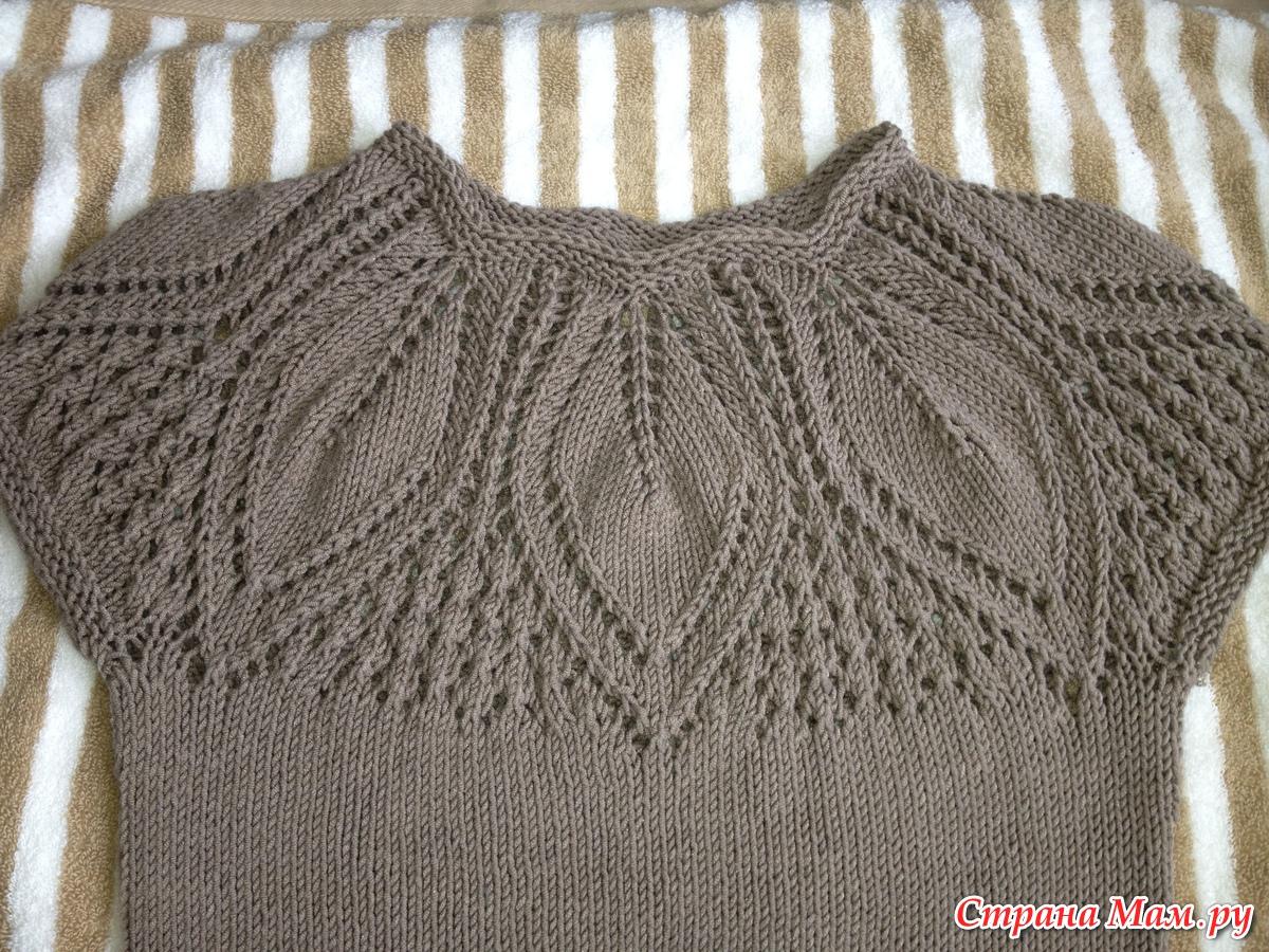 Вязание листочков на кокетке