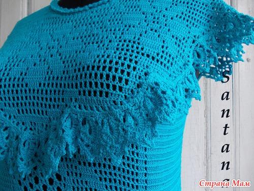 Бирюзовая кофточка (филейное вязание). Запись отредактирована 14.05.13