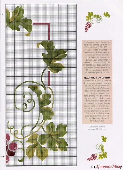 Схема вышивки винограда для