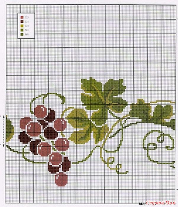 Вышивка схема винограда салфетка