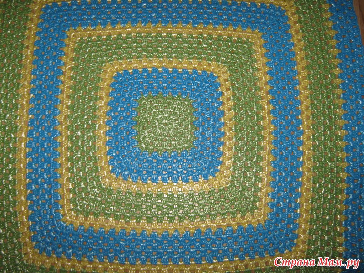 Вязание из пакетов кружки коврики
