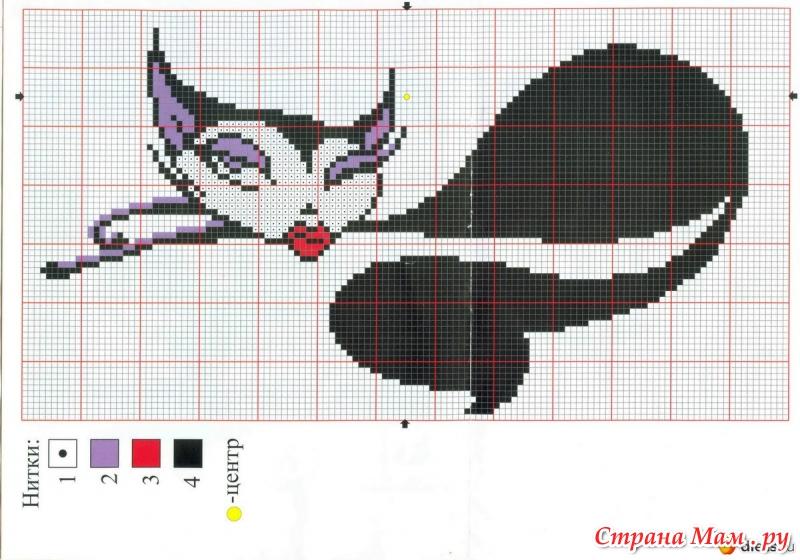Схема вышивок кошечек