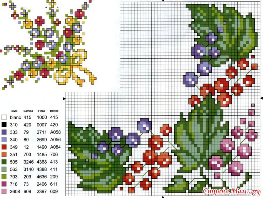 Вышивка для скатерти цветы 788