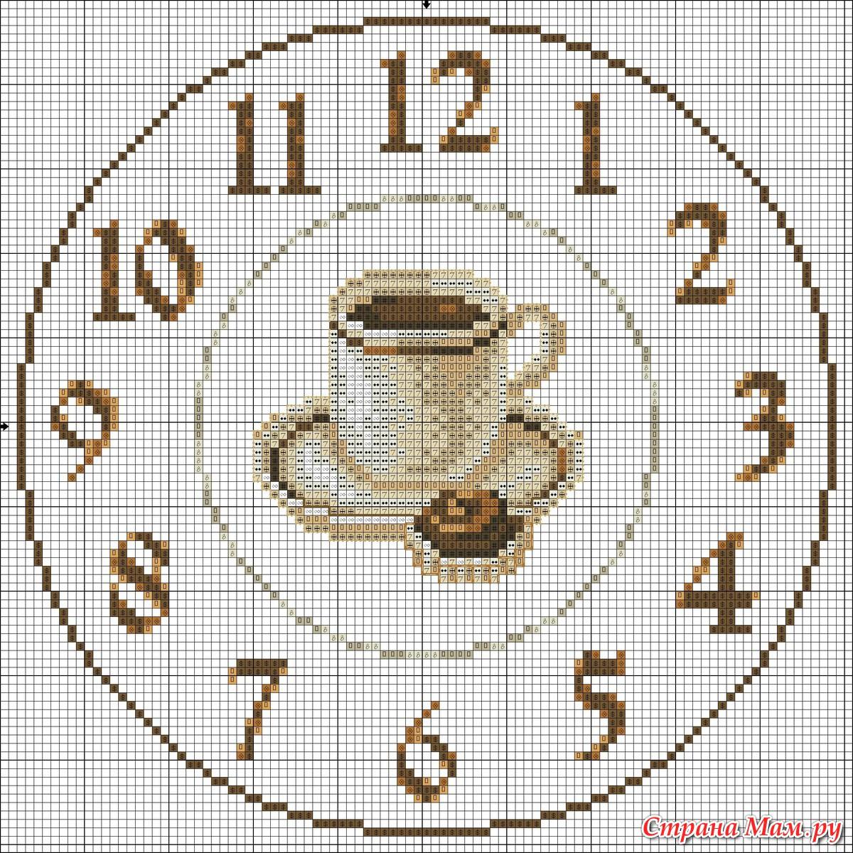 Вышивка крестиком схемы часы
