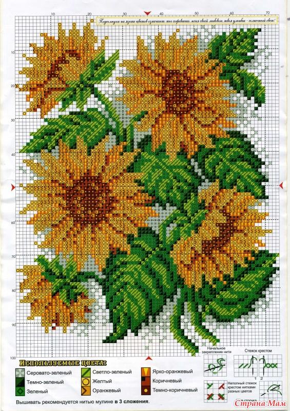 Схемы вышивки цветов и букетов