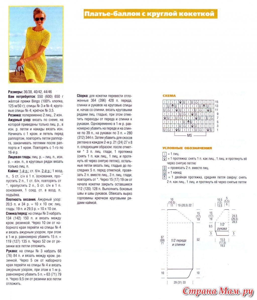 Схема вязания ажурной кокетки реглан сверху