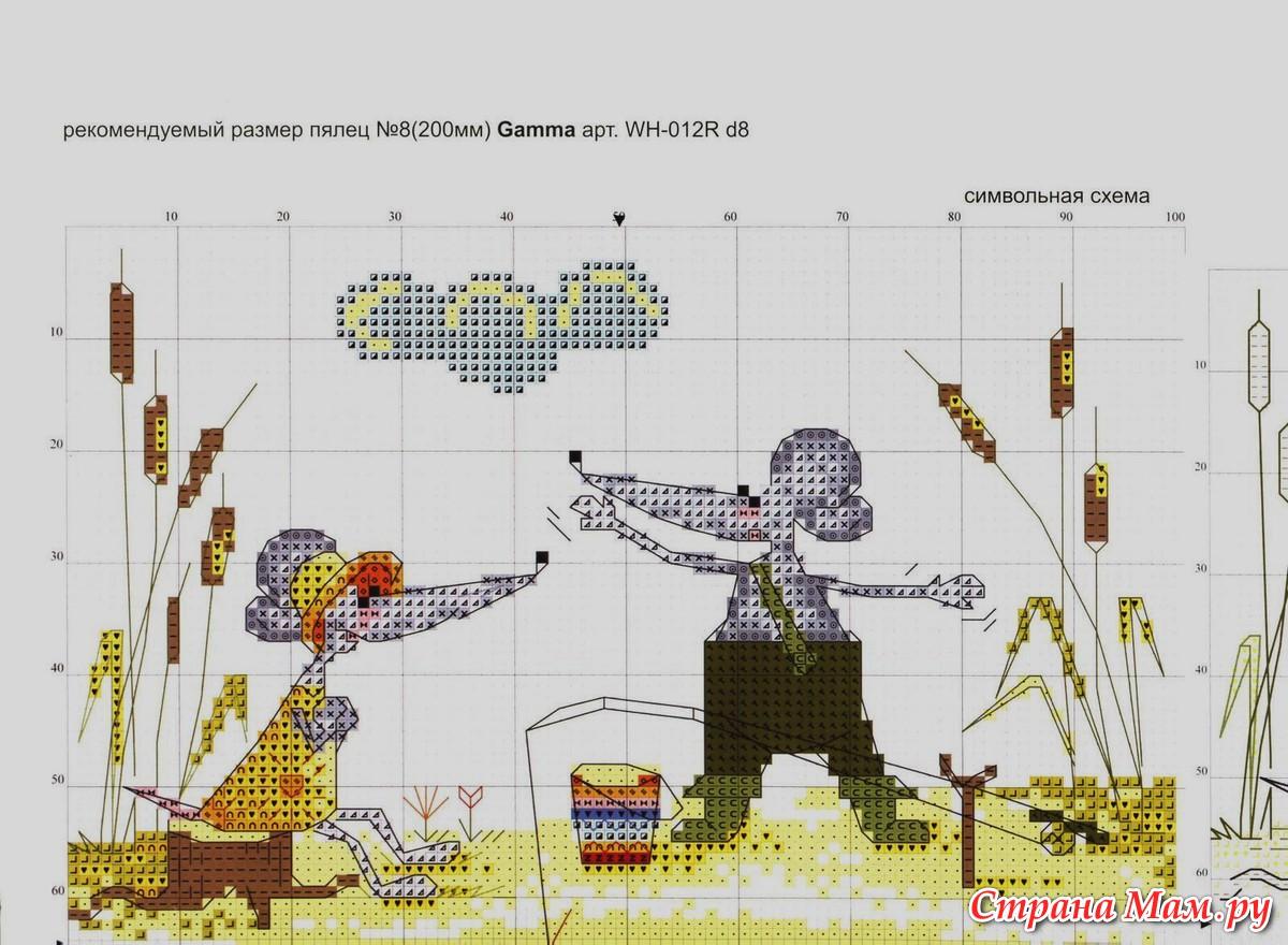 На рыбалке схема вышивки 96