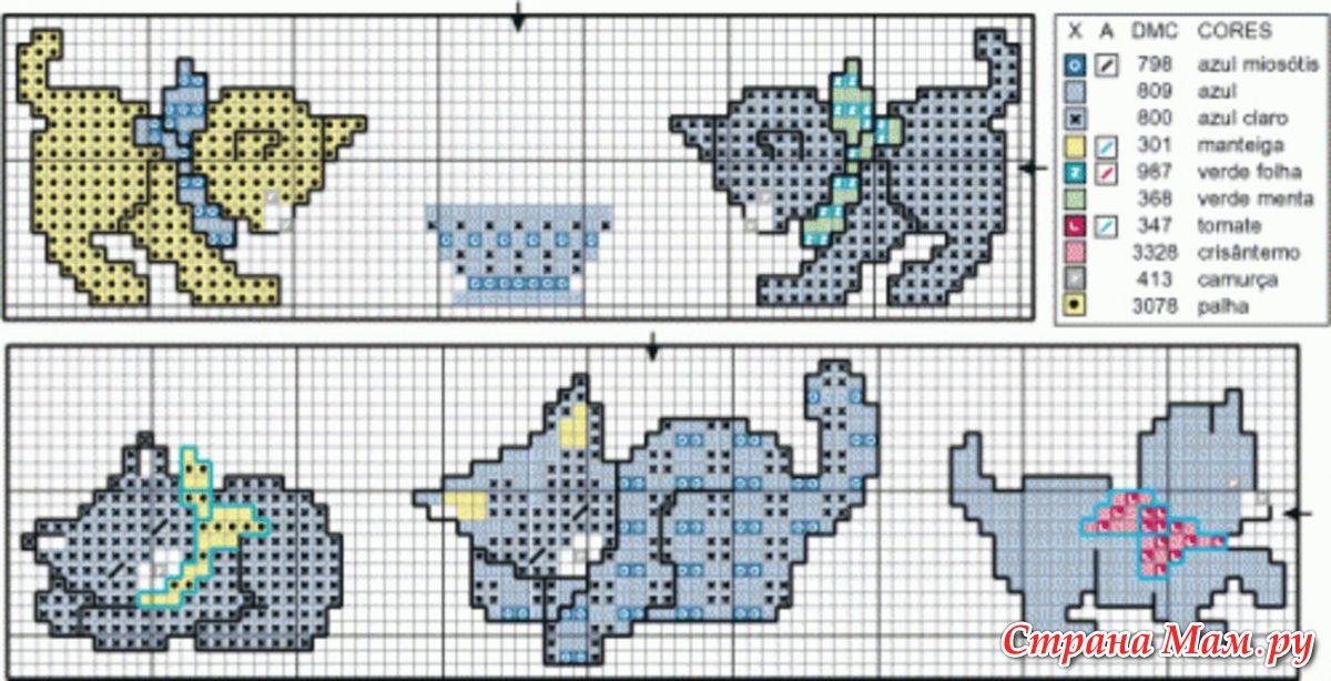 Схемы-рисунки вязания спицами кот