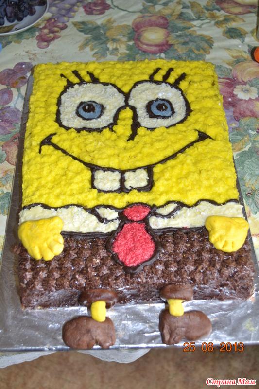 Торт губка боб фото с кремом