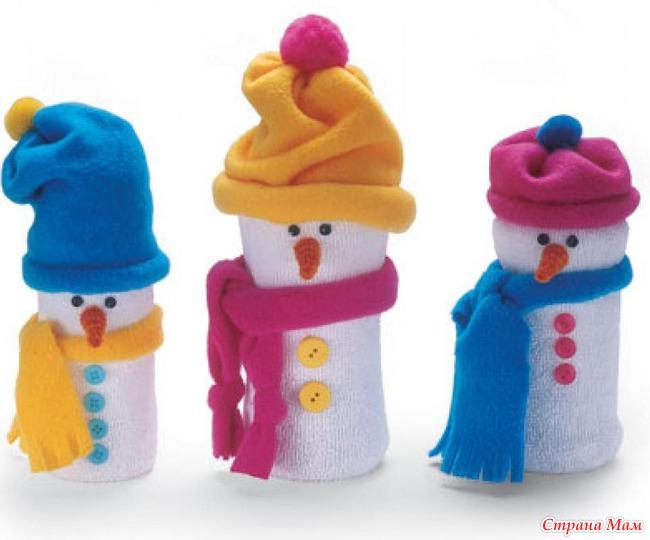 Поделка снеговик своими руками из бутылки