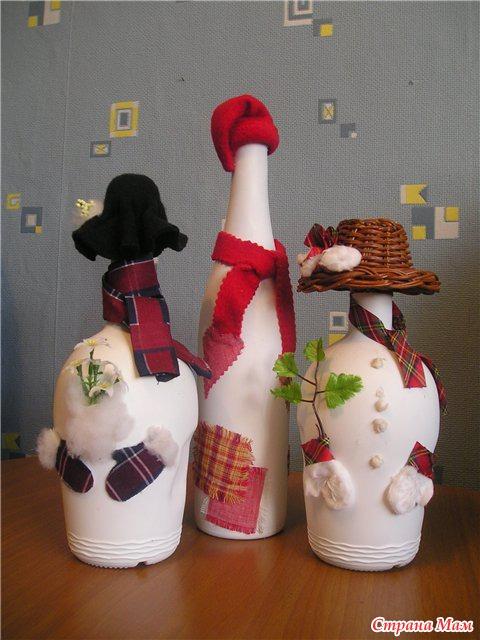 Новогодние поделки своими руками из бутылки шампанского