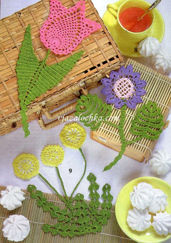 Вязание крючком цветочков из пышных столбиков 188