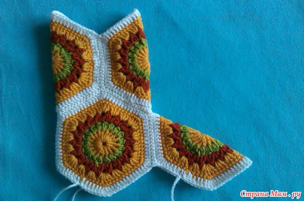 Вязание крючком сапожков из шестиугольников