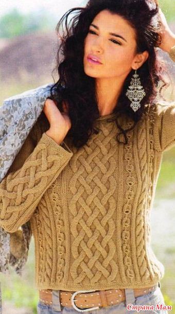 Короткий пуловер спицами.