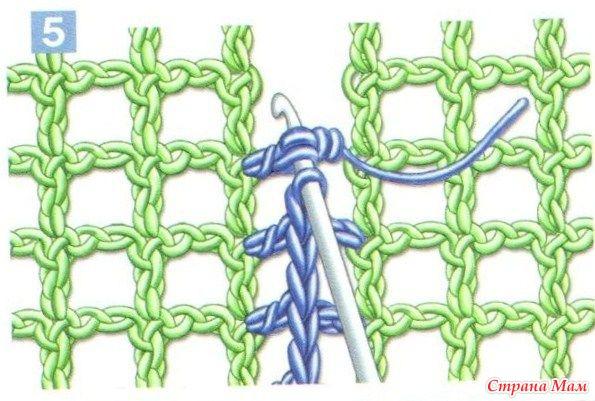 Соединение деталей, выполненных филейной сеткой