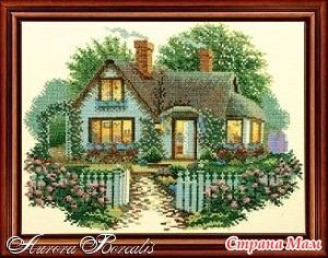 Вышивка крестом дом с розами