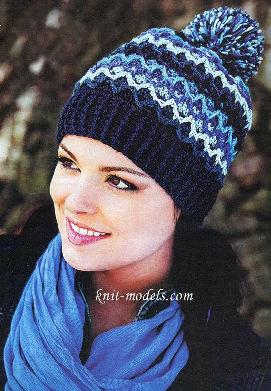 *Разноцветная шапка с помпоном