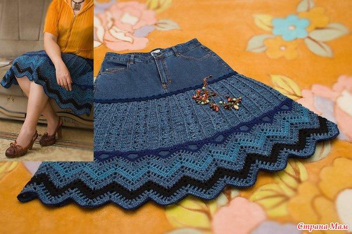 Вязаные комбинированные юбки