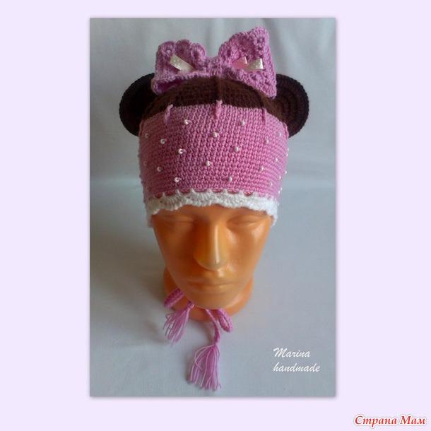 """Шапочка """"Минни"""" и необычный шарфик для девочки"""