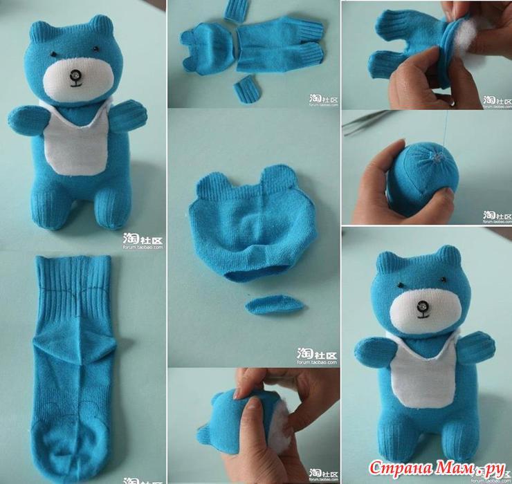 Как сделать из носка мишку