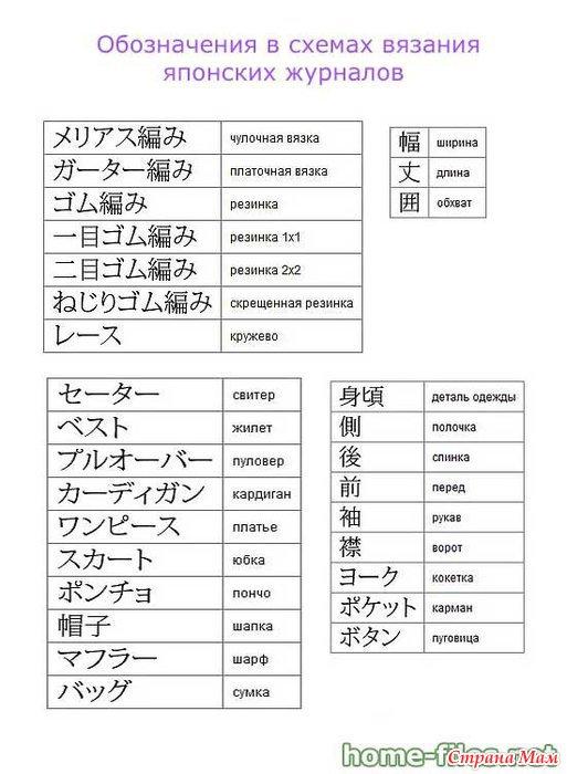 Японские схемы по вязанию перевод 886
