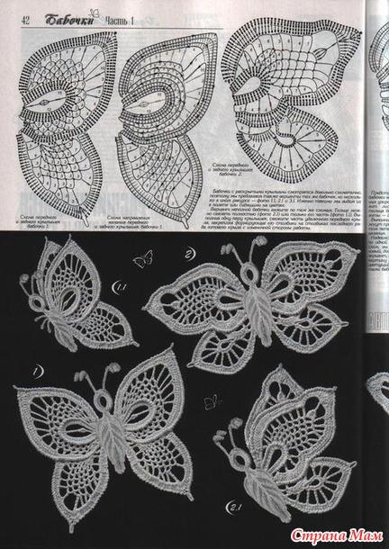 Схема вязания бабочки ирландское кружево