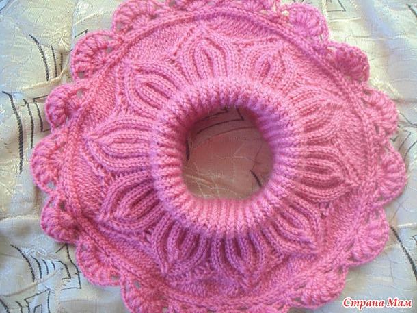 Вязание розовая манишка