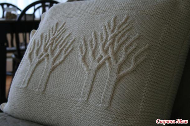 """Узор спицами """"Деревья-близнецы"""""""