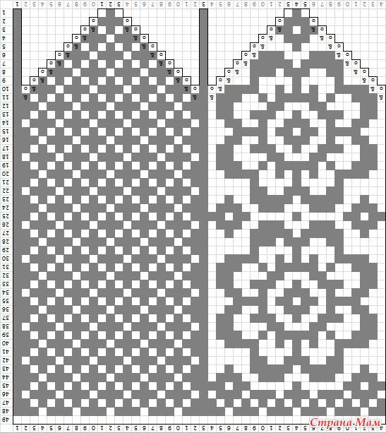 Узоры для вязания на варежках 354