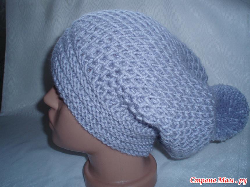Шапка вязание узор соты