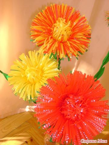 Хризантемы из бутылок пластиковых своими руками для сада