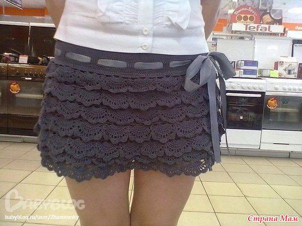 Ажурная мини юбка с воланами