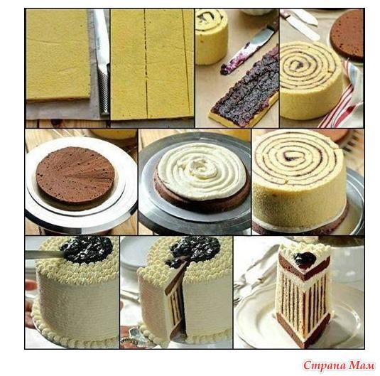торт с разноцветными коржами рецепт