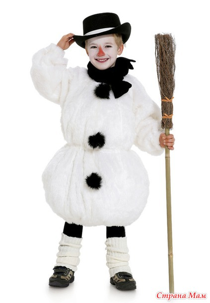Новогодний детский костюм снеговика своими руками