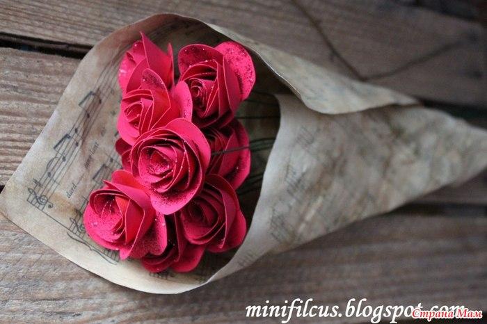 Как сделать бумажные розы своими руками видео