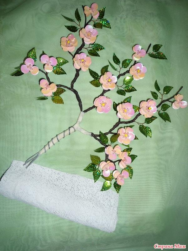 Цветы своими руками с паетками 114