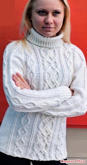 Вязаные белые свитера женские