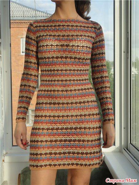 Вязание полосатое платье