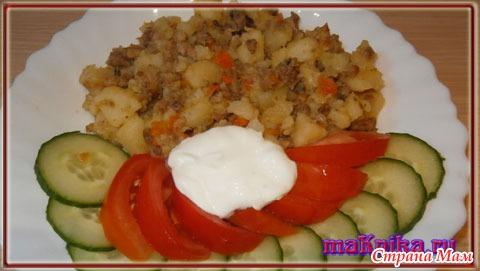 Картошка фарш и капуста с фото пошагово