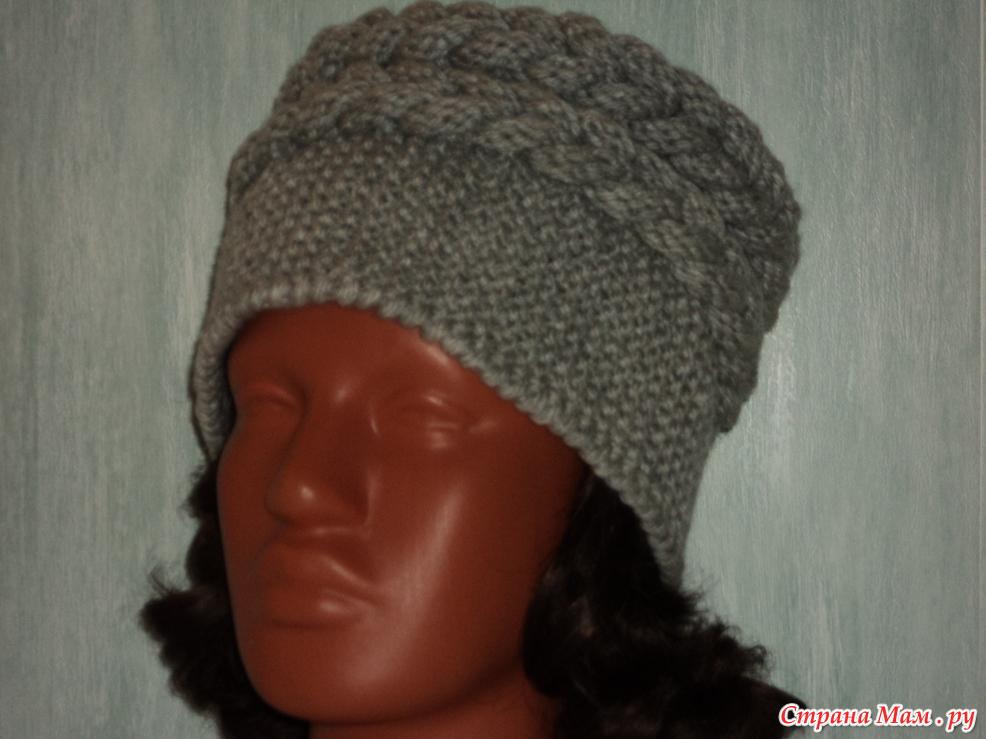 Вязание спицами шапки поперечное 55