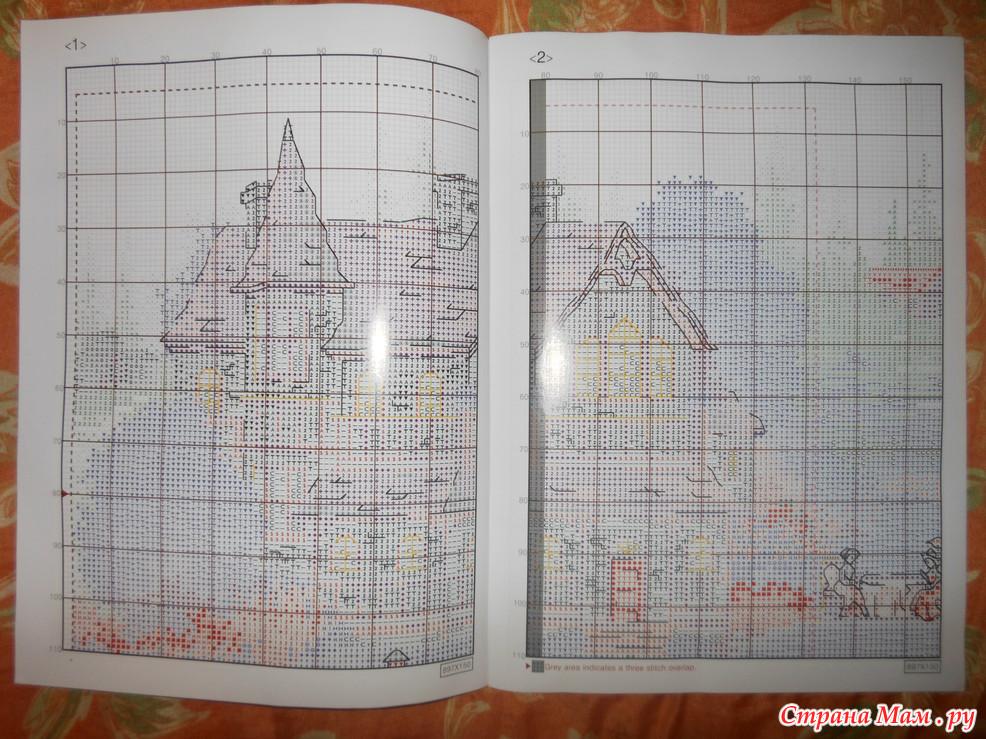 Схема для вышивки зеленая деревенька 92
