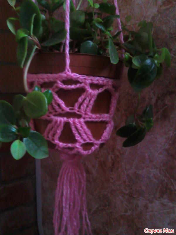 Вязание кашпо спицами
