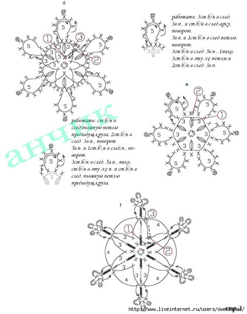 Вязание крючком снежинок схемы с подробным описанием