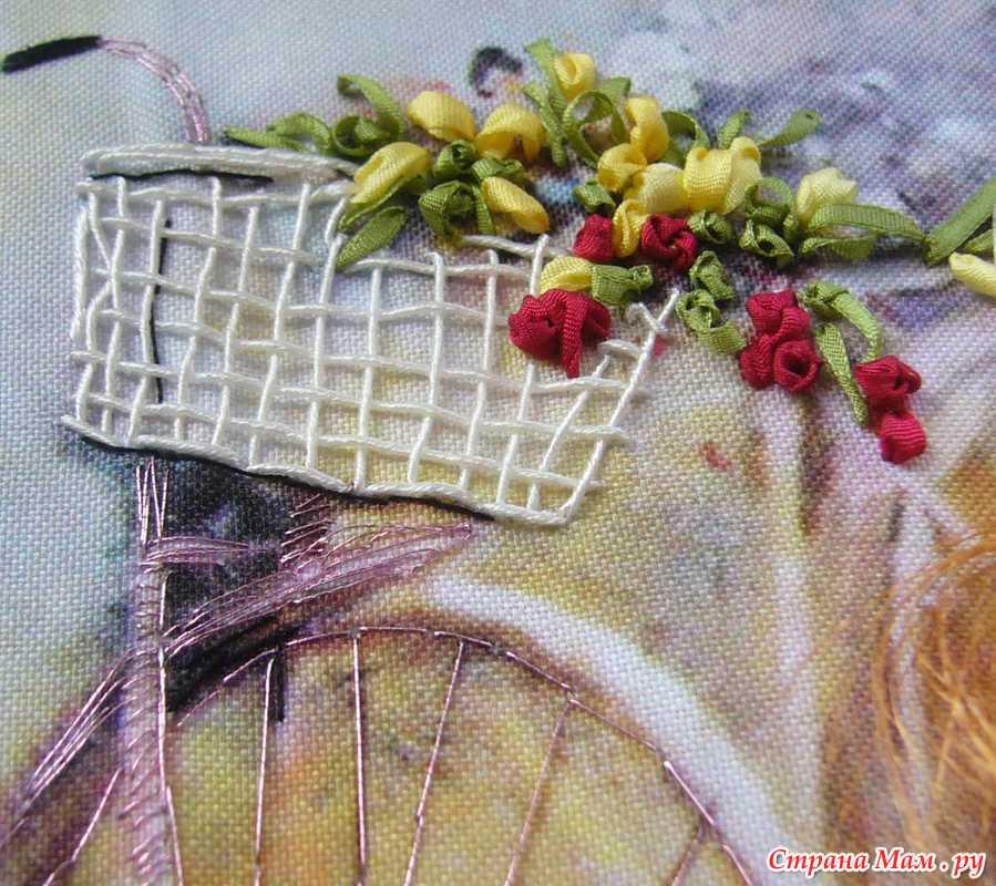 Велосипед вышивка лентами